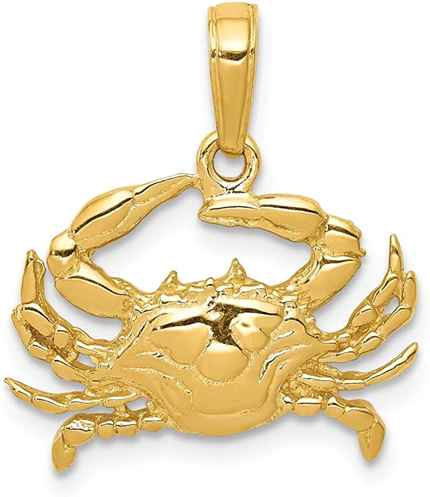 Solid 10k Yellow Gold Blue Crab Pendant Charm