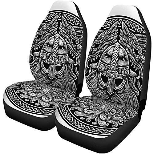 Autostoelhoezen Noorse God Odin Wolf en Zwaarden Ring Keltische Viking Set van 2 Beschermers Universele Fit voor Auto Truck SUV