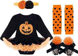 Kaerm Baby Girls Halloween Carnival Outfit Long Sleeve Pumpkin Applique Tutu Romper with Headband Leg Warmers Shoes Orange...