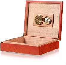 Cigar Humidor Cedar Wooden Cigar Case Portable Cigar Box Organiser with Humidifier& Hygrometer, Birthday, Father's Day Gift, Max Capacity 20