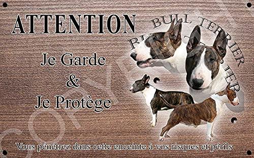 Pets-Easy.com Attention Chien de Garde personnalisée Bull Terrier bringé Miniature - pré perforée et vis proposées. De 30 cm à 15 cm…
