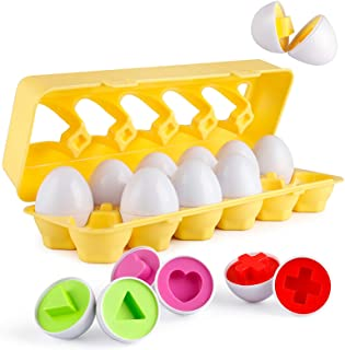 Coogam Matching Eggs 12 pcs Set Color & Shape Recoginition Sorter Puzzle for Easter Travel Bingo Game Early Learning Educa...