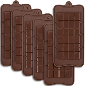 Newk Chocolate Silicone Molds,Break-Apart Candy and Energy Bar Silicone Molds, Pack of 6