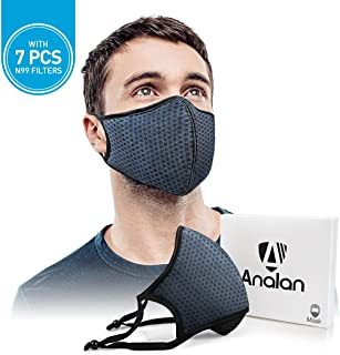 ANALAN Dust Mask Anti Air Pollution Mask N99 Washable Reusable Mouth Masks for Allergies Smoke Protection Fire Face Flu Pollen with 7Pcs N99 Mask Filter (Deep Blue)