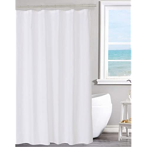 0c3575b51ae Fabric Shower Curtain Liner Solid White, Hotel Quality, Mildew Resistant,  Washable, Non