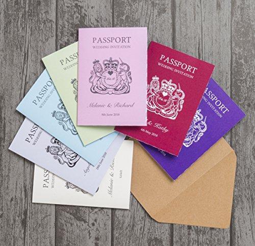 personnalisé sur le thème de passeport Destination Invitation de mariage avec enveloppes (lot de 20)