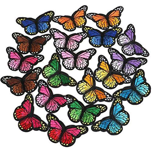 TRIXES 12 Stück aufnähbare aufbügelbare PC Stoff-Schmetterlinge Patches Kleidung und Handtaschen