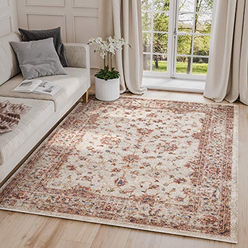 Babylon Collection Beige & Red Distressed 6' x 9' Area Rug, Vintage Motif Traditional Style Accent Rug - Abani Rugs