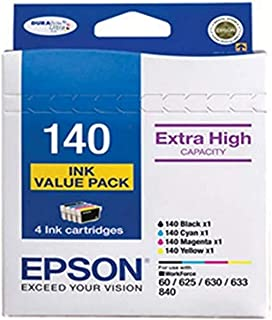 Epson C13T140692 140 Extra High Capacity 4 Ink Cartridge Value Pack for Stylus NX635 and Workforce 60, 545, 625, 630, 633,...