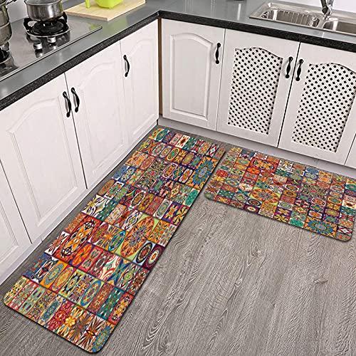 2 Piezas Alfombrillas de Cocina,patrón sin Costuras con Flores Decorativas Elementos de Flores Vintage Colorido Mosaico Antideslizante Alfombra para Puerta de Baño Juego de alfombras Cocina Lavables