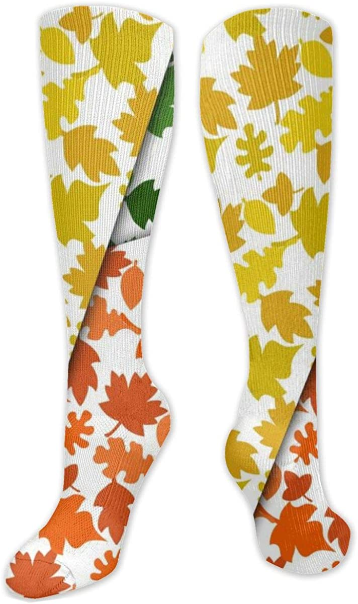 Red Yellow Leaf Knee High Socks Leg Warmer Dresses Long Boot Stockings For Womens Cosplay Daily Wear
