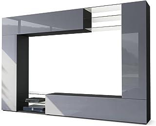 Vladon Mueble de Pared Mirage Cuerpo en Negro Mate/Frentes en Gris de Alto Brillo