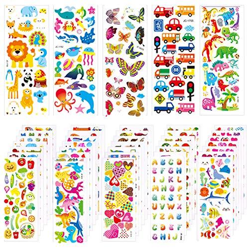Yongbest Aufkleber für Kinder,1000 Stück 3D Puffy Stickers für Kinder Einschließlich Tierzahlen Dinosaurier-Fahrzeug Fruchtzahlen Buchstaben 40 Blatt