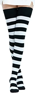 Kayhoma Extra Long Cotton Stripe Thigh High Socks Over the Knee High Plus Size Stockings