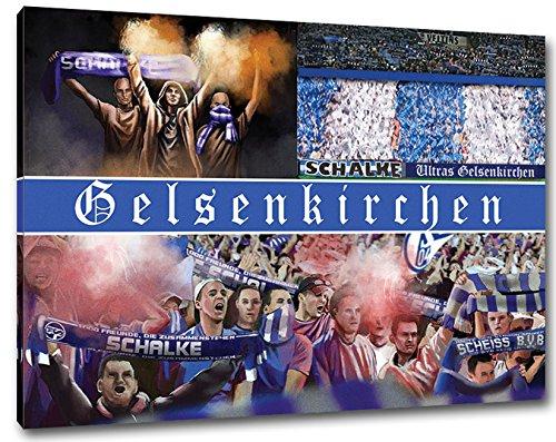Ultras Schalke, Bild auf Leinwand XL, fertig gerahmt, 80 x 60 cm