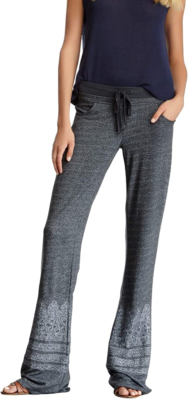 Terry Knit Slouch Pants Lace Print   Casual Bell Bottoms