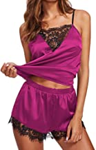 Women Satin Silk Babydoll Nightwear Pajamas Set Lace Up Sexy Lingerie Sleepwear