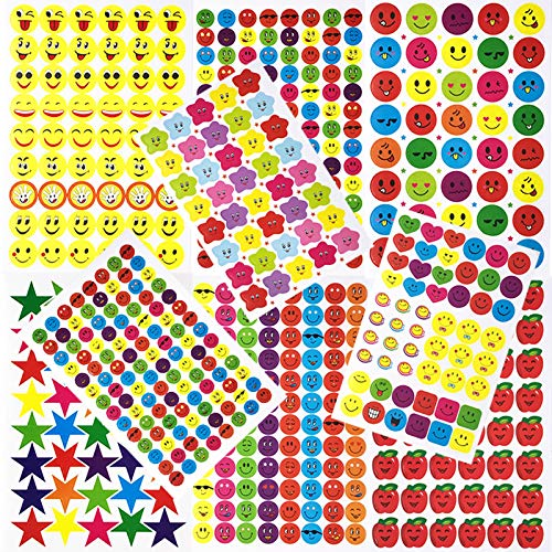 WeNet Motivationsaufkleber Belohnungs-Aufkleber 80 Blatt-Anreiz-Aufkleber Unterrichtsmaterial für die Schule mit Lächeln-Gesicht, Stern, Apple