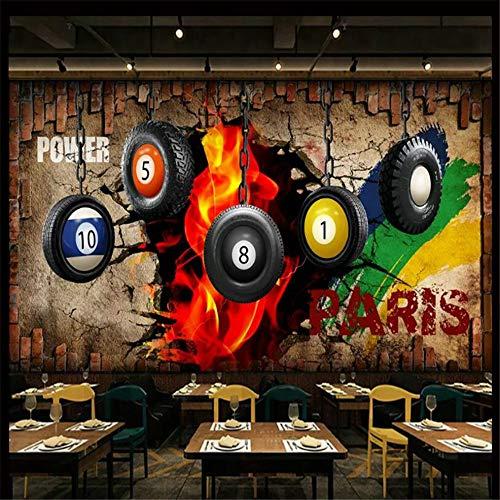 Wandbild, 3D Billard Bild 3D Dekorativer Hintergrund Wand Tischtennis Dekoration Tapete, 250Cm (B) X 175Cm (H)