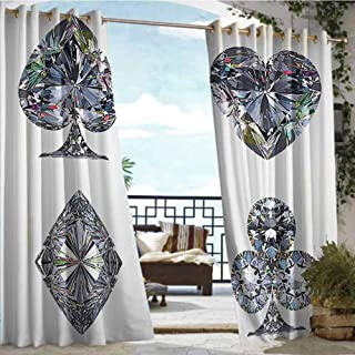 Andrea Sam Outdoor Blackout Curtains Diamond Decor,Playing Cards Diamonds Hearts Clubs Spades Casino Theme Lucky Charm Art Graphic Design,White Silver,W108 xL84 Silver Grommet Top Drape