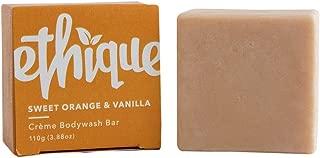 Ethique Eco-Friendly Crème Bodywash Bar for Sensitive Skin, Sweet Orange & Vanilla - Sustainable Hydrating Soap Free Bodywash, Plastic Free, Vegan, Plant Based, 100% Compostable and Zero Waste, 3.88oz
