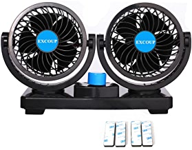 EXCOUP 12V Fan Cooling Air Fan Powerful Dashboard Electric Car Fan Low Noise 360 Degree Rotatable with 2 Speed Adjustable for Truck Vehicle Boat