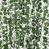 Vides Artificiales Guirnaldas Verdes, 12 Piezas Hoja Verde de Hiedra Falsa, Enredadera de Flores Artificiales de Follaje para el hogar, Fiesta, Hotel, jardín, Oficina, Boda, 2,3 m