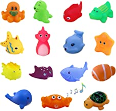 UMBWORLD Preschool Bath Toys Rubber Floating Squeaky Baby Wash Shower Toy for Toddlers Kids Party Decoration15 Pcs (Sea An...