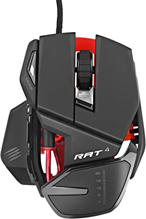 Mad Catz RAT4 Wired Optical Adjustable Gaming Mouse for PC and Mac with 9 Programmable Buttons(Black)