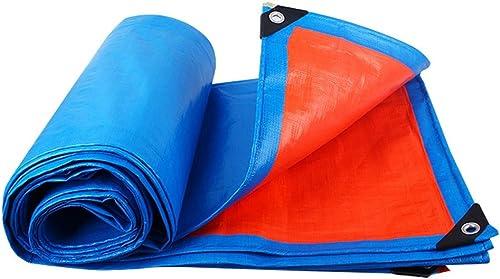 WSGZH Bleu + Orange Bache Tente Bache Auvent Poncho Plastique Auvent Camping Jardin extérieur Poncho, épaisseur 0,35mm, 180g m2, 15Options de Taille 5  7
