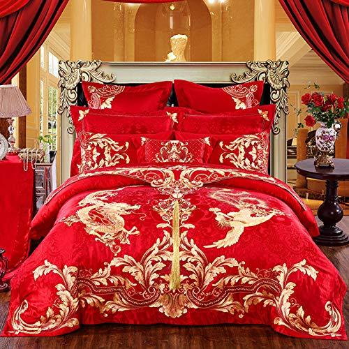 HIUGHJ steppen Golden Phoenix Dragon Stickerei 100prozent Baumwolle Hochzeit Bettwäsche Set Rote Bettbezug Bettfahne Bettlaken Tagesdecken KissenbezügeFree shipping200 x 230cm (79 x 91 Zoll) 220 x 2