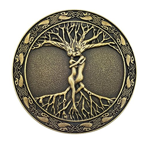 Lanxy Antique Gold Tone Celtic Tree Of Life Roots Branches Round Belt Buckle For Mens