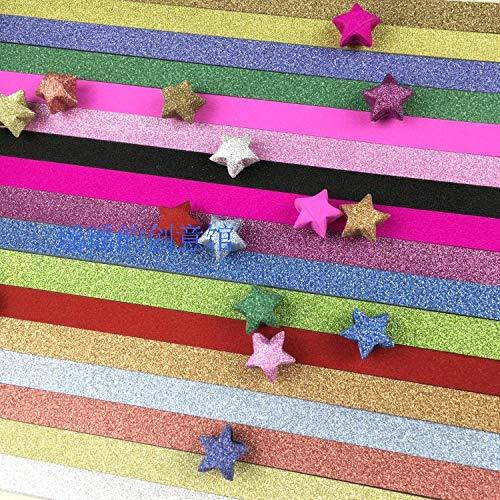 Tira de origami de estrella azul de color puro, botella luminosa de estrella pequeña doblada a mano, producto de estrella de cinco puntas de diamante intermitente de color-350 piezas de 18 colores