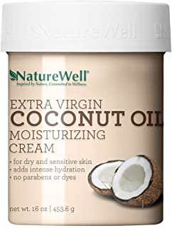 NatureWell Coconut Oil Ultimately Hydrating, Paraben and Dye Free, Moisturizing Cream for Face and Body, 16 oz.