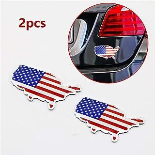 PT Decors Abziehbild Aufkleber des Chrome Metall 3D US USA Amerika Karten Flaggen Emblem 4cm × 7cm Auto Rennsport grafischer Abziehbild