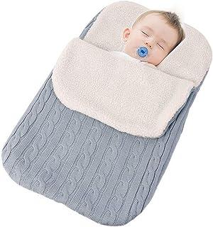 Beige MiniGreen Baby Schlafsack Strick Kapuze Swaddle f/ür 0-12 Monat Neugeboren M/ädchen Jungen H/äkeln Kuscheldecke Strickdecke Gestrickte Babyschlafsack und Kinderwagen Haken