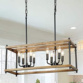 Oldiron Farmhouse Chandeliers,8 Light Rectangular...
