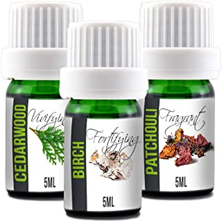 Aroma2Go Essential Oils Set, 100% Pure Undiluted, Therapeutic Grade, Plant Based in 5ML Birch, Patchouli, Cedarwood (Hippie Pack)