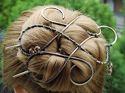 Silver Celtic Hair Clip Metal Hair Clip Large Bun Holder Hair Fork Long