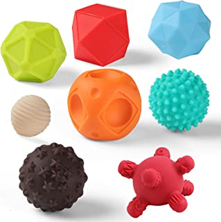 Juego de bolas sensoriales con textura para bebés con bolas de masaje suave con colores brillantes y múltiples formas, aprendizaje de juguetes educativos tempranos para niños y niñas de más de 6 meses (8 unidades)