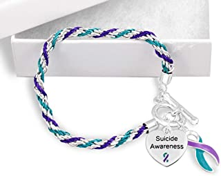 5 Pack Suicide Awareness Teal & Purple Rope Bracelets (5 Bracelets Individually Bagged)