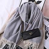 zami bufanda otoño e invierno mantón femenino doble uso grueso grueso color sólido estudiante bufanda gris