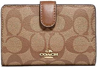 COACH Signature Coated Canvas Medium Corner Zip Wallet in Khaki/Saddle