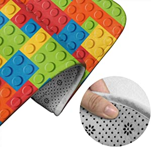 KBstore Building Block Toy Block 3 Pieces Bathroom Rugs, Non-Slip Bathroom Rug, Antiskid Pads, Bath Shower Bathroom Mats Set, Machine Washable, Mat + Contour + Toilet Lid Cover, Standard Size