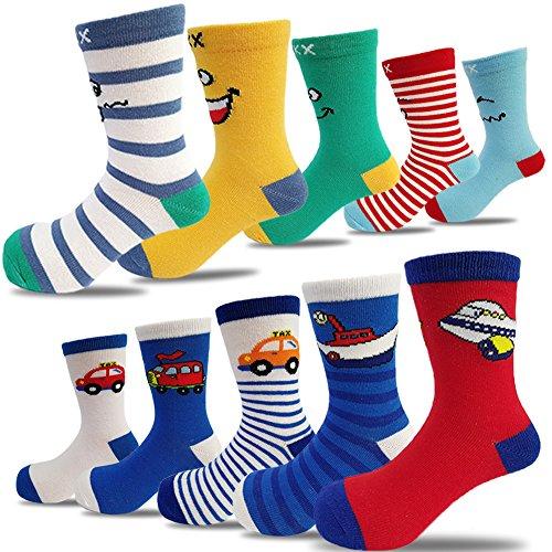 10 Pairs Kids Boys Girls Cute Colorful Novelty Fashion Cotton Crew Socks