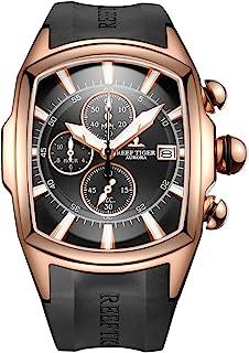ساعتهای لوکس اسپرت مردانه Reef Tiger، ساعتهای ورزشی بزرگ مردانه ، ساعتهای ضد آب طلای گل رز RGA3069-T