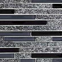 Mozaïektegels doorschijnend grijs zwart composiet glas mozaïek kristal steen grijs zwart voor muur badkamer toilet douche ...