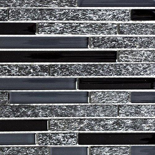 Mosaik Fliese Transluzent grau schwarz Verbund Glasmosaik Crystal Stein grau schwarz für WAND BAD WC DUSCHE KÜCHE FLIESENSPIEGEL THEKENVERKLEIDUNG BADEWANNENVERKLEIDUNG Mosaikmatte Mosaikplatte