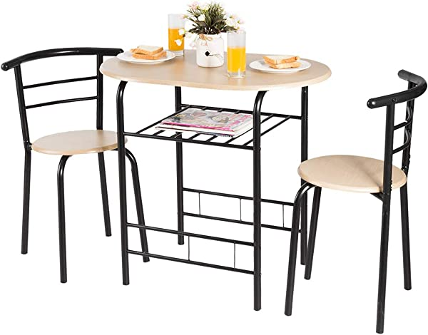Giantex 3 Piece Dining Set Compact 2 Chairs And Table Set With Metal Frame And Shelf Storage Bistro Pub Breakfast Space Saving For Apartment And Kitchen Natural Black