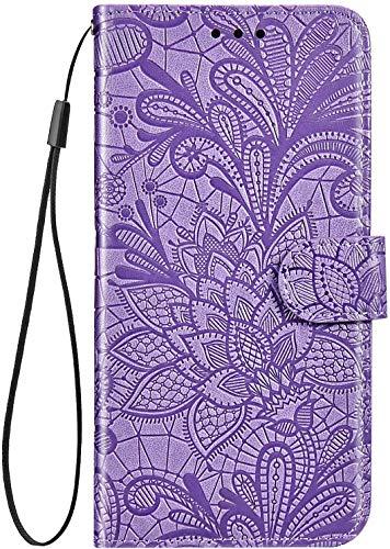 IKASEFU Kompatibel mit Nokia 3.1 Plus Hülle, Prägung Spitze Blume PU Leder Wallet Strap Case mit Kartenhalter Slots Stoßfest Magnetisch Ständer Folio Flip Book Schutzhülle Bumper Cover Lila